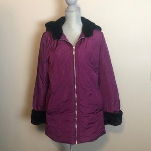 Dennis by Dennis basso purple quilted coat
